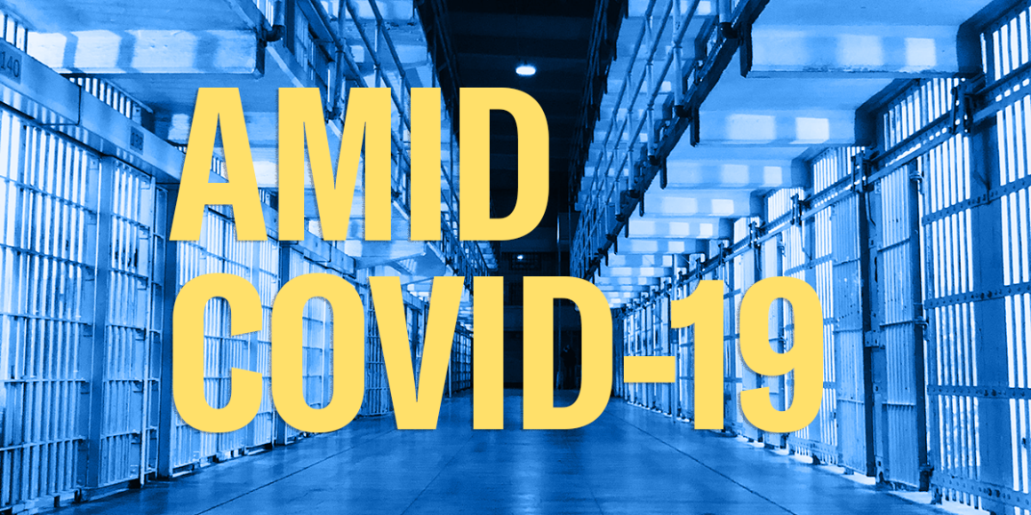 "jail cells and header text ""amid covid-19"""
